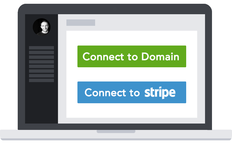 A laptop screenshot showing the two-step creating account and connecting to Stripe